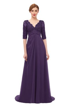 ColsBM Harper Violet Bridesmaid Dresses Half Backless Elbow Length Sleeve Mature Sweep Train A-line V-neck