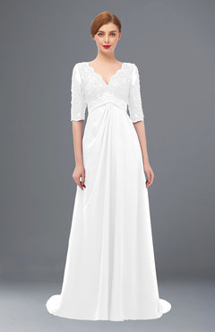 ColsBM Harper White Bridesmaid Dresses Half Backless Elbow Length Sleeve Mature Sweep Train A-line V-neck
