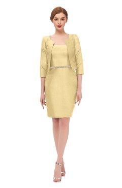 5d8fc88da17 ColsBM Demi Light Yellow Bridesmaid Dresses Knee Length Elegant Strapless  Half Length Sleeve Sash Sheath