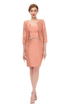 ColsBM Demi Salmon Bridesmaid Dresses Knee Length Elegant Strapless Half Length Sleeve Sash Sheath