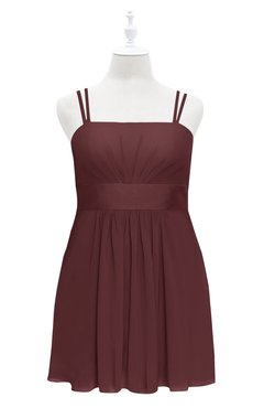 ColsBM Wilt Burgundy Plus Size Bridesmaid Dresses Spaghetti Zipper Sleeveless Sash Mini Informal