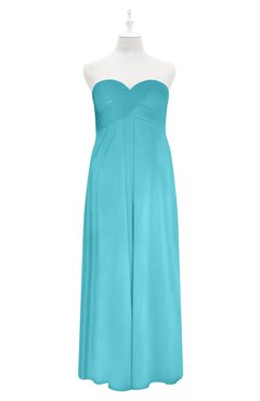ColsBM Zaylee Turquoise Plus Size Bridesmaid Dresses Sleeveless Zip up Simple Sweetheart Floor Length A-line
