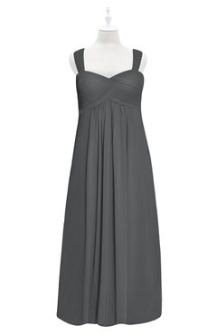 ColsBM Naya Grey Plus Size Bridesmaid Dresses A-line Floor Length Zipper Casual Sleeveless Ruching