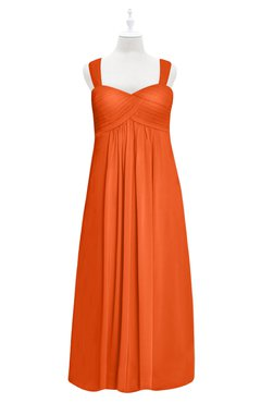 ColsBM Naya Tangerine Plus Size Bridesmaid Dresses A-line Floor Length Zipper Casual Sleeveless Ruching