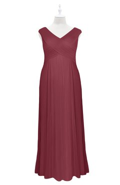 ColsBM Malaya Wine Plus Size Bridesmaid Dresses Ruching Elegant A-line Floor Length V-neck Zipper