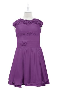 ColsBM Tenley Dahlia Plus Size Bridesmaid Dresses Knee Length Zip up Cute Short Sleeve Lace A-line