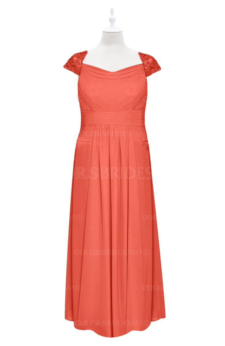 ColsBM Oakley - Living Coral Plus Size Bridesmaid Dresses