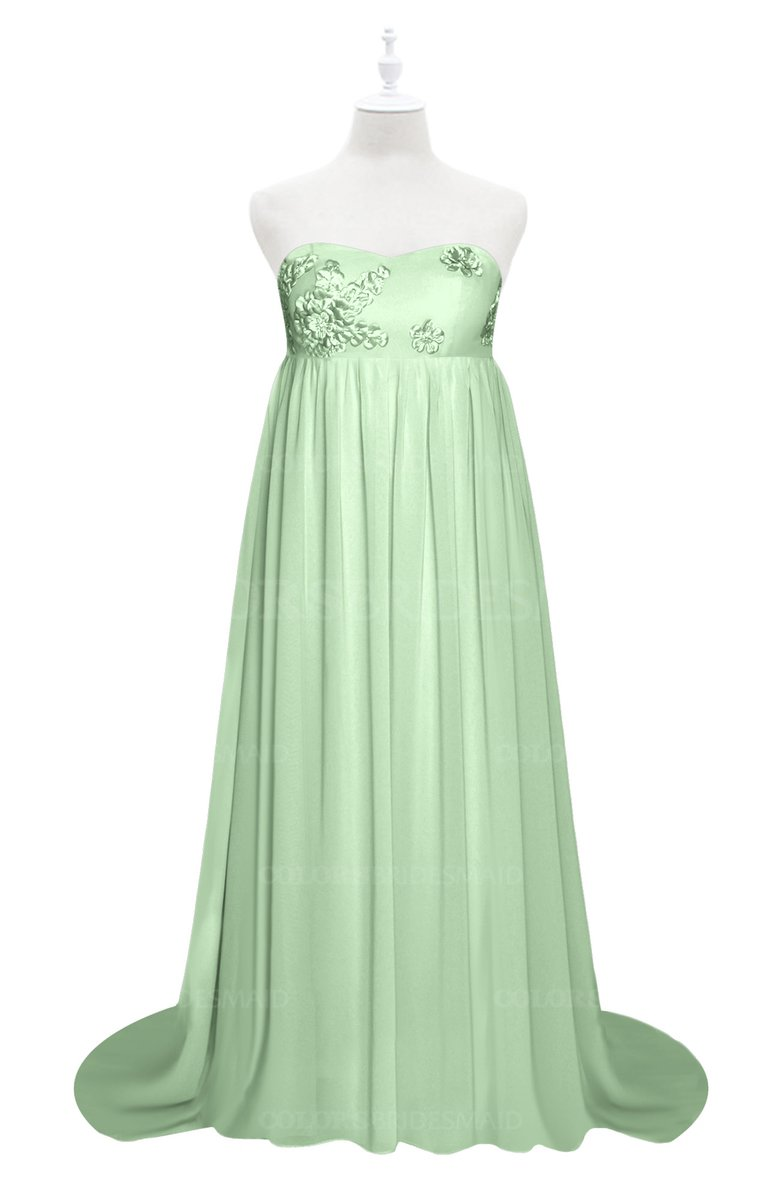 f3ff0c1b38b ColsBM Milania Light Green Plus Size Bridesmaid Dresses Sweetheart  Sleeveless Empire Pleated Backless Gorgeous