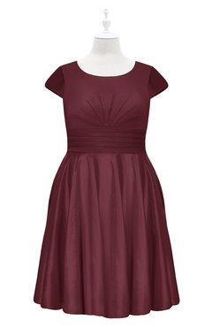 ColsBM Paislee Cabernet Plus Size Bridesmaid Dresses Elegant Tea Length Zip up Short Sleeve A-line Sash