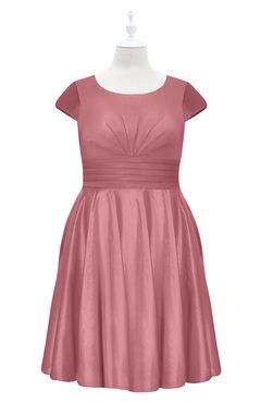 ColsBM Paislee Mauveglow Plus Size Bridesmaid Dresses Elegant Tea Length Zip up Short Sleeve A-line Sash