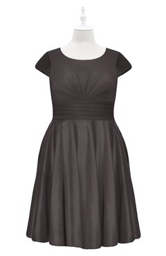 ColsBM Paislee Pewter Plus Size Bridesmaid Dresses Elegant Tea Length Zip up Short Sleeve A-line Sash
