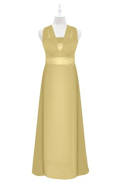 ColsBM Mckinley Gold Plus Size Bridesmaid Dresses Floor Length Pleated Sleeveless Zipper Thick Straps Romantic