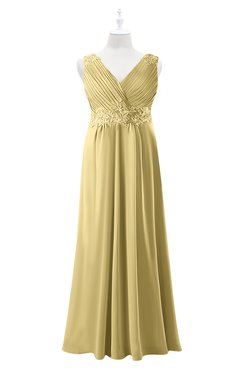 ColsBM Malaysia Gold Plus Size Bridesmaid Dresses Floor Length Sleeveless V-neck Sexy A-line Zipper