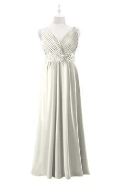 ColsBM Malaysia Ivory Plus Size Bridesmaid Dresses Floor Length Sleeveless V-neck Sexy A-line Zipper