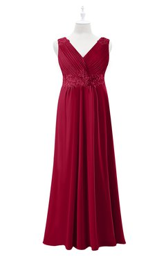 ColsBM Malaysia Maroon Plus Size Bridesmaid Dresses Floor Length Sleeveless V-neck Sexy A-line Zipper