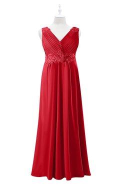 ColsBM Malaysia Red Plus Size Bridesmaid Dresses Floor Length Sleeveless V-neck Sexy A-line Zipper
