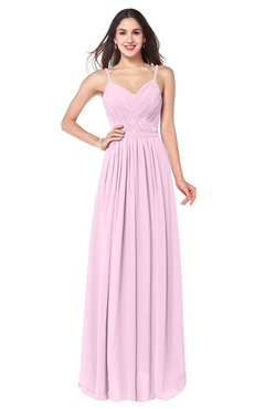 ColsBM Kinley Baby Pink Bridesmaid Dresses Sleeveless Sexy Half Backless Pleated A-line Floor Length