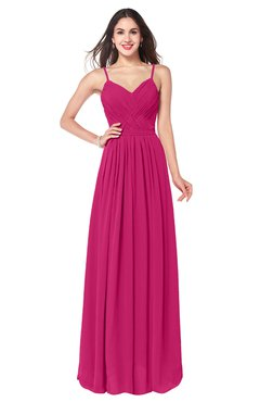 ColsBM Kinley Beetroot Purple Bridesmaid Dresses Sleeveless Sexy Half Backless Pleated A-line Floor Length