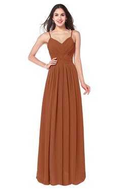 ColsBM Kinley Bombay Brown Bridesmaid Dresses Sleeveless Sexy Half Backless Pleated A-line Floor Length