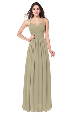ColsBM Kinley Candied Ginger Bridesmaid Dresses Sleeveless Sexy Half Backless Pleated A-line Floor Length