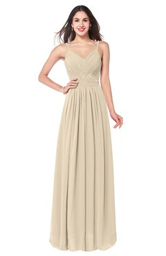 ColsBM Kinley Champagne Bridesmaid Dresses Sleeveless Sexy Half Backless Pleated A-line Floor Length