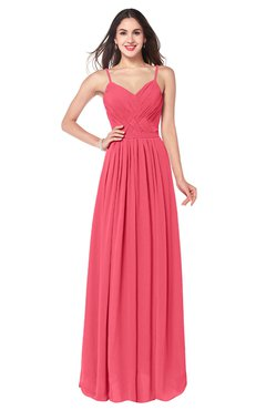 ColsBM Kinley Guava Bridesmaid Dresses Sleeveless Sexy Half Backless Pleated A-line Floor Length