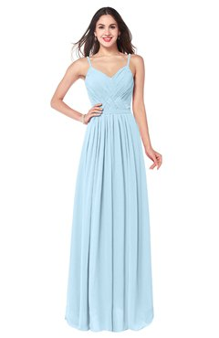 ColsBM Kinley Ice Blue Bridesmaid Dresses Sleeveless Sexy Half Backless Pleated A-line Floor Length