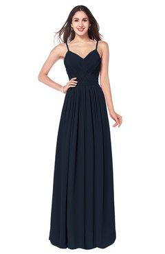 ColsBM Kinley Navy Blue Bridesmaid Dresses Sleeveless Sexy Half Backless Pleated A-line Floor Length