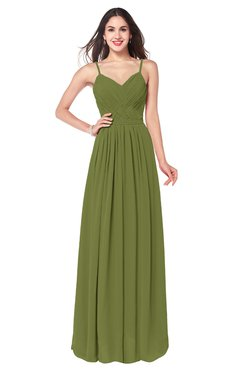 ColsBM Kinley Olive Green Bridesmaid Dresses Sleeveless Sexy Half Backless Pleated A-line Floor Length