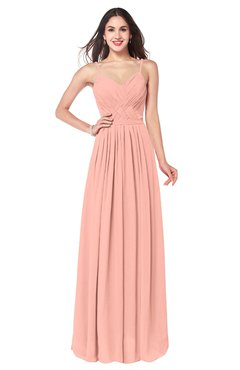 ColsBM Kinley Peach Bridesmaid Dresses Sleeveless Sexy Half Backless Pleated A-line Floor Length