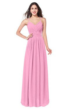 ColsBM Kinley Pink Bridesmaid Dresses Sleeveless Sexy Half Backless Pleated A-line Floor Length