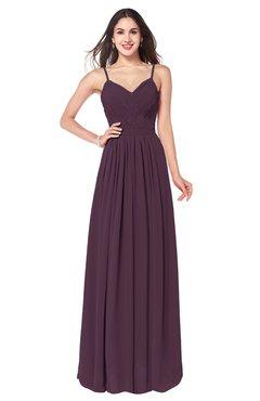 ColsBM Kinley Plum Bridesmaid Dresses Sleeveless Sexy Half Backless Pleated A-line Floor Length