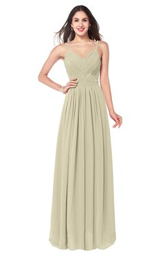 ColsBM Kinley Putty Bridesmaid Dresses Sleeveless Sexy Half Backless Pleated A-line Floor Length
