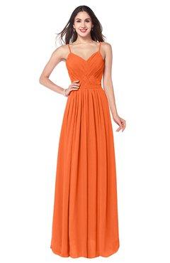 ColsBM Kinley Tangerine Bridesmaid Dresses Sleeveless Sexy Half Backless Pleated A-line Floor Length