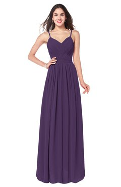 ColsBM Kinley Violet Bridesmaid Dresses Sleeveless Sexy Half Backless Pleated A-line Floor Length