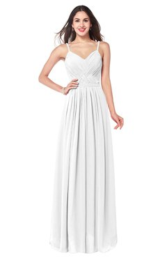 ColsBM Kinley White Bridesmaid Dresses Sleeveless Sexy Half Backless Pleated A-line Floor Length