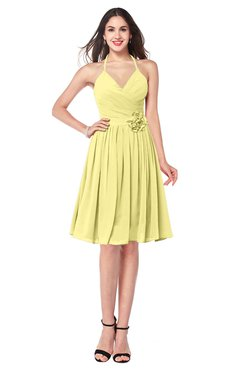 ColsBM Kyleigh Daffodil Bridesmaid Dresses A-line Halter Sleeveless Zipper Knee Length Cute
