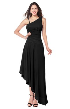 ColsBM Jewell Black Bridesmaid Dresses Asymmetric Ruching Plain Asymmetric Neckline Sleeveless Half Backless