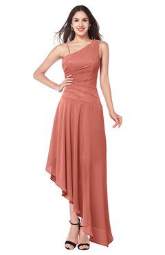 ColsBM Jewell Crabapple Bridesmaid Dresses Asymmetric Ruching Plain Asymmetric Neckline Sleeveless Half Backless