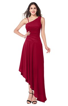 ColsBM Jewell Maroon Bridesmaid Dresses Asymmetric Ruching Plain Asymmetric Neckline Sleeveless Half Backless