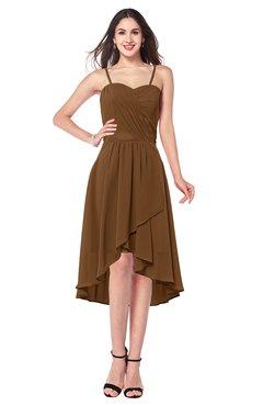ColsBM Lavern Brown Bridesmaid Dresses Sleeveless Asymmetric Ruching A-line Elegant Sweetheart