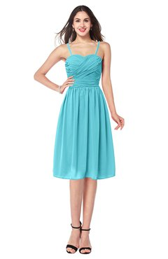 ColsBM Braidy Turquoise Bridesmaid Dresses Spaghetti A-line Half Backless Pleated Knee Length Modern