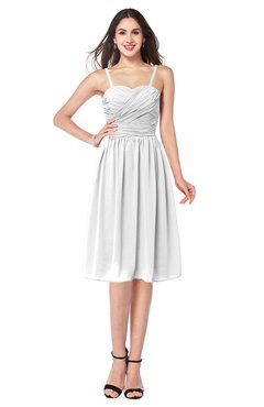 ColsBM Braidy White Bridesmaid Dresses Spaghetti A-line Half Backless Pleated Knee Length Modern