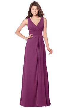 ColsBM Madisyn Raspberry Bridesmaid Dresses Sleeveless Half Backless Sexy A-line Floor Length V-neck