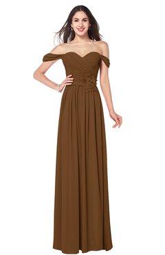 ColsBM Katelyn Brown Bridesmaid Dresses Zip up A-line Floor Length Sweetheart Short Sleeve Gorgeous
