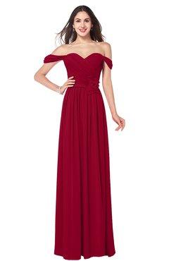 ColsBM Katelyn Maroon Bridesmaid Dresses Zip up A-line Floor Length Sweetheart Short Sleeve Gorgeous