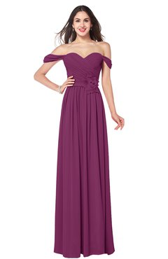 ColsBM Katelyn Raspberry Bridesmaid Dresses Zip up A-line Floor Length Sweetheart Short Sleeve Gorgeous