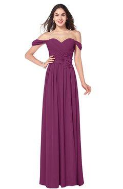 ColsBM Katelyn Raspberry Bridesmaid Dresses Zip up A-line Floor Length Sweetheart Short Sleeve Gorgeous