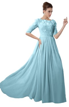 ColsBM Rene Aqua Bridesmaid Dresses Boat Flower A-line Elastic Elbow Length Sleeve Hawaiian