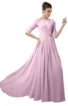 ColsBM Rene Baby Pink Bridesmaid Dresses Boat Flower A-line Elastic Elbow Length Sleeve Hawaiian